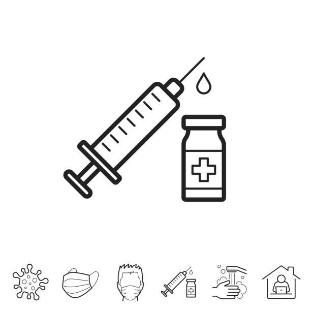 Vaccination - Syringe and vaccine vial. Line icon - Editable stroke vector art illustration