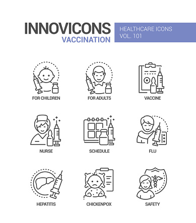Vaccination - vector line design style icons set