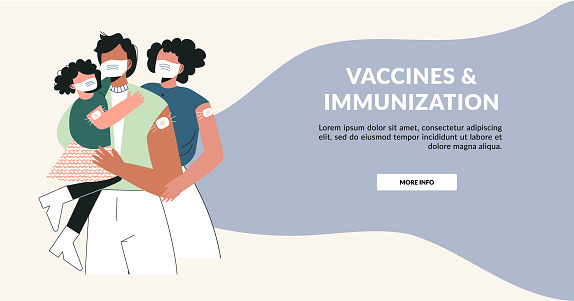 Vaccine and family vaccinated concept. Young parents with kid after injection shot. Health care campaign template. Time to family with children vaccinate banner.  Flat vector layout illustration