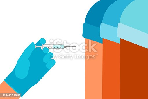 Vaccine and syringe injection. Doctor hand with syringe. Vaccination of people for prevention, immunization and treatment from virus infection. Medicine, flu shot, blood test with needle. Vector