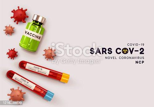 Vaccine by Virus Covid 19-NCP. Laboratory blood test for virus Covid19. Novel Coronavirus (2019-nCoV) denoted is single-stranded RNA virus. Realistic 3d viruses cells. SARS-CoV2. vector illustration.