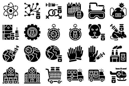 Vaccine Development related solid icon set 3