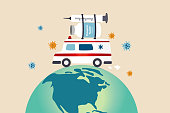 istock COVID-19 vaccine distribution worldwide after approval and ready to ship around the world to protect from Coronavirus concept, ambulance or medical truck carrying COVID-19 vaccine and syringe on globe 1286323980