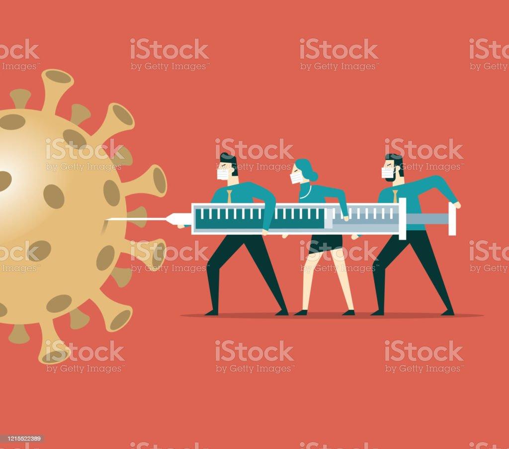 새로운 코로나바이러스 백신 - 로열티 프리 COVID-19 벡터 아트