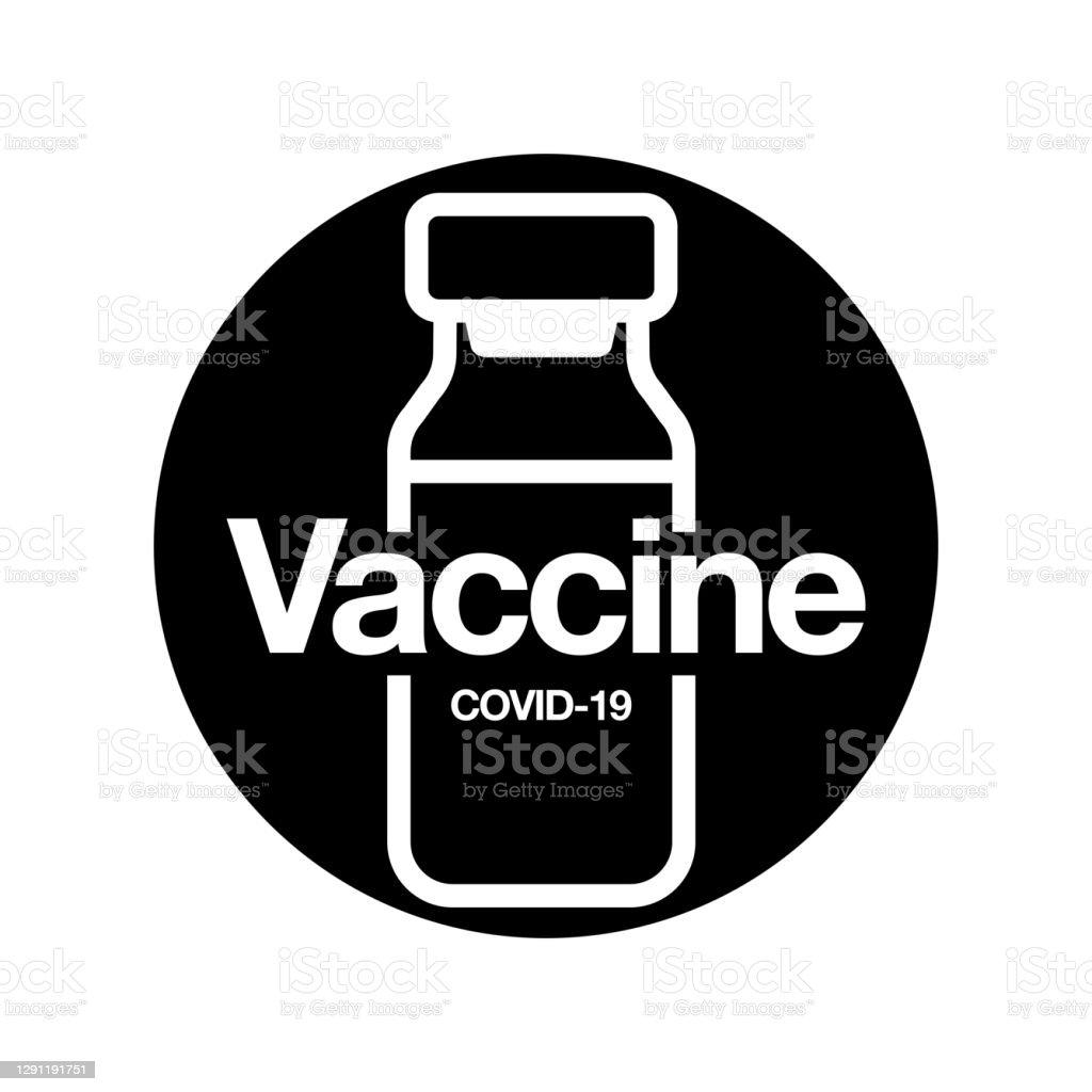 Значок вакцины. Медицинский флакон для инъекций изолирован на черном фоне. Концепция медицины, COVID-19 Вакцинация. Векторная иллюстрация. - Векторная графика Covid-19 роялти-фри