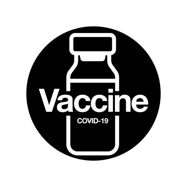 Vaccine Icon. Medical vial for injection isolated on black background. Concept for Medicine, COVID-19 Vaccination. Vector Illustration. Vaccine Icon. Medical vial for injection isolated on black background. Concept for Medicine, COVID-19 Vaccination. Vector Illustration. covid vaccine stock illustrations