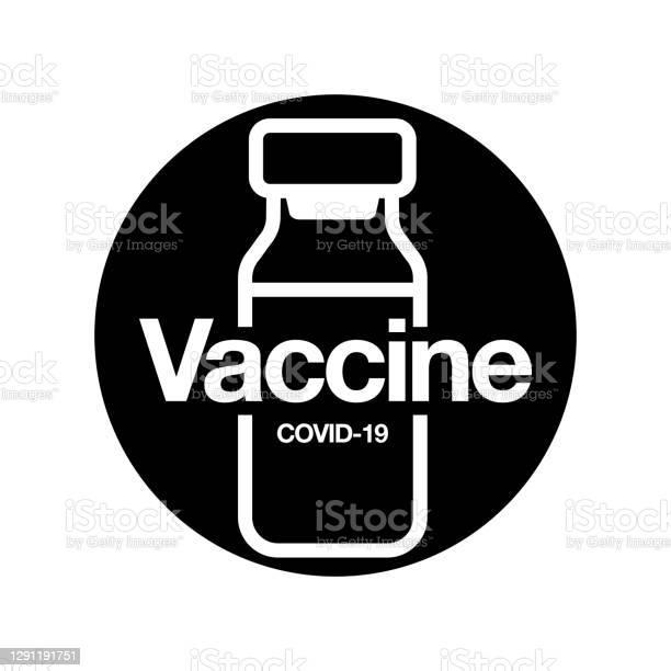 Значок Вакцины Медицинский Флакон Для Инъекций Изолирован На Черном Фоне Концепция Медицины Covid19 Вакцинация Векторная Иллюстрация — стоковая векторная графика и другие изображения на тему Covid-19