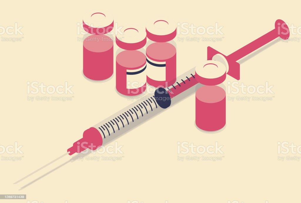 Иллюстрация вакцин ограниченной цветовой палитры - Векторная графика Covid-19 роялти-фри