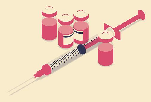 Vaccine illustration limited color palette