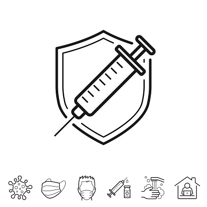 Vaccine - Protect with vaccination. Trendy icon isolated on white and blank background for your design. Includes 6 popular icons: - Coronavirus cell (COVID-19), - Medical or surgical face mask, - Man in medical face protection mask, - Vaccination - Syringe and vaccine vial, - Washing hands with soap and water, - Work from home. Vector Illustration (EPS10, well layered and grouped), easy to edit, manipulate, resize or colorize. And Jpeg file of different sizes.