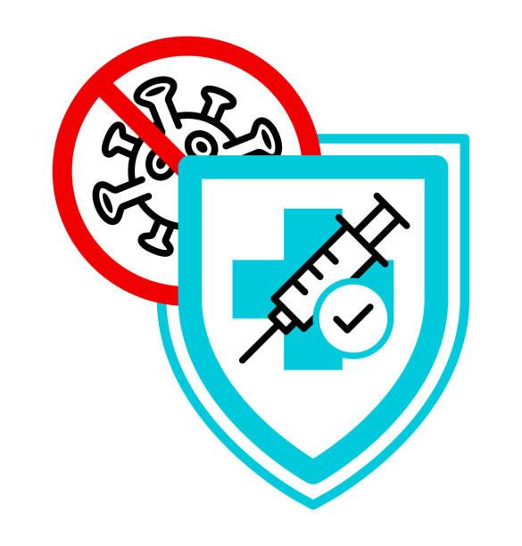 ilustraciones, imágenes clip art, dibujos animados e iconos de stock de icono plano de protección contra vacunas. - covid 19 vaccine