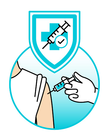 Syringe in hand. Vaccination is like a shield to your immune system. Protecting you from viruses and other diseases. Doctor's hand in a glove, gives a vaccine to a person, in his/her arm. COVID-19