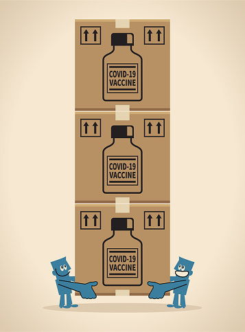 COVID-19 vaccine shipment concept, coronavirus vaccine doses arrive
