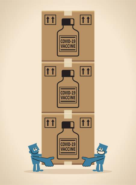 COVID-19 vaccine shipment concept, coronavirus vaccine doses arrive vector art illustration