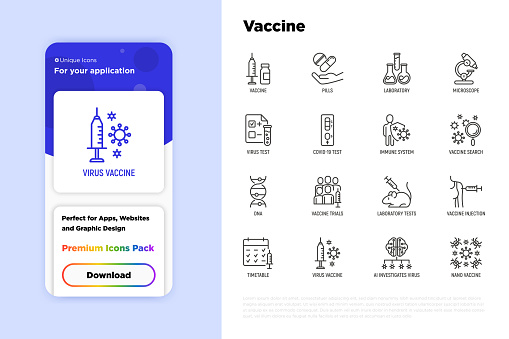Vaccine thin line icons set: syringe and ampoule, laboratory test, immune system, injection in forearm, covid-19 test, vaccine trials, timetable, ai investigates virus. Vector illustration.