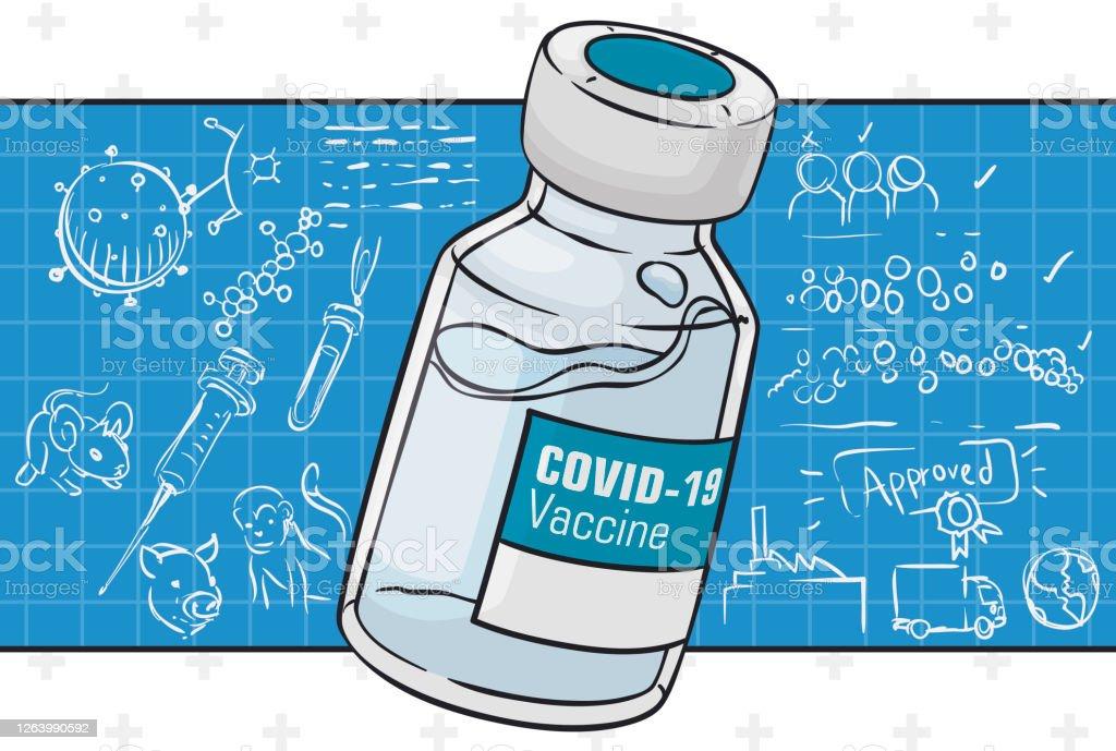 COVID-19 Вакцина флакон над Квадратный совет с его этапами развития - Векторная графика Covid-19 роялти-фри