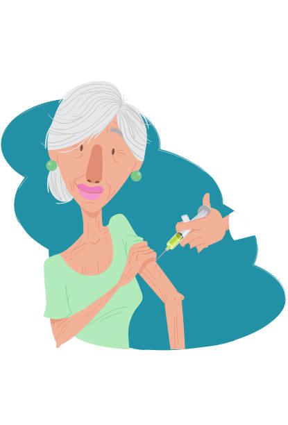 vacinação idosos - grippeimpfung stock-grafiken, -clipart, -cartoons und -symbole