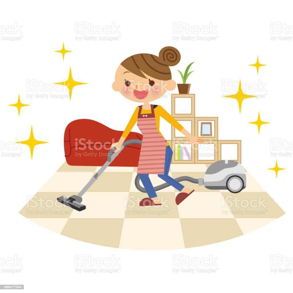 A Vacuum Cleaner And A Woman Stock Vector Art 888477594 Istock