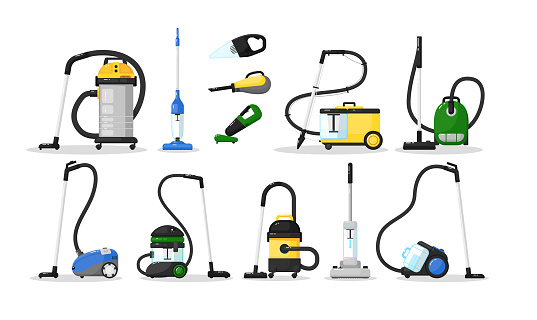 Vacuum cleaner. Electrical vacuum cleaner hoover different type. Home appliance cleaning equipment vector illustration. Classic, wireless, compact domestic machine icon set isolated