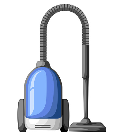 Vacuum cleaner icon isolated on white. Electrical vacuum cleaner hoover. Equipment for house cleaning tool device. Domestic cleaning machine symbol sign in flat style. Vacuum sweeper. Vector.