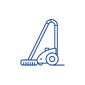 Vacuum cleaner line icon concept. Vacuum cleaner flat  vector symbol, sign, outline illustration.
