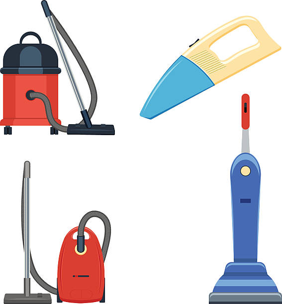 stockillustraties, clipart, cartoons en iconen met vacuum cleaner set vector illustration isolated on white background - stofzuiger