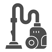 istock Vacuum cleaner solid icon, Cleaning service concept, hoover sign on white background, cleaning equipment icon in glyph style for mobile concept and web design. Vector graphics. 1282942684