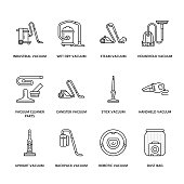 Vacuum cleaners colored flat line icons. Different vacuums types - industrial, household, handheld, robotic, canister, wet dry. Thin linear signs for housework equipment shop