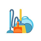 Vacuum cleaner,scoop and broom isolated on white background. Cleaning.