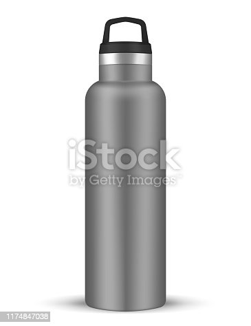 Vacuum insulated water bottle with carry handle, realistic vector mockup. Stainless steel shiny metal sport flask, template.