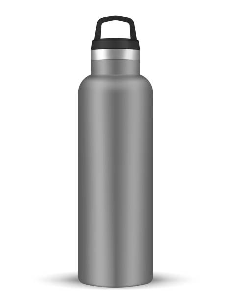 vacuum insulated water bottle with carry handle, realistic vector mockup. stainless steel shiny metal sport flask, template - лекало stock illustrations