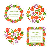 Vagetable frames and concepts set. Assorted sliced fruit for salad. Vector template for design. Flat style.