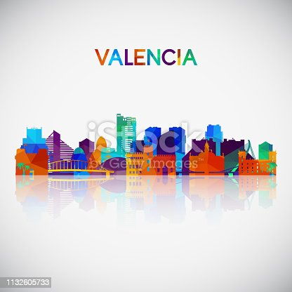 Valencia skyline silhouette in colorful geometric style. Symbol for your design. Vector illustration.