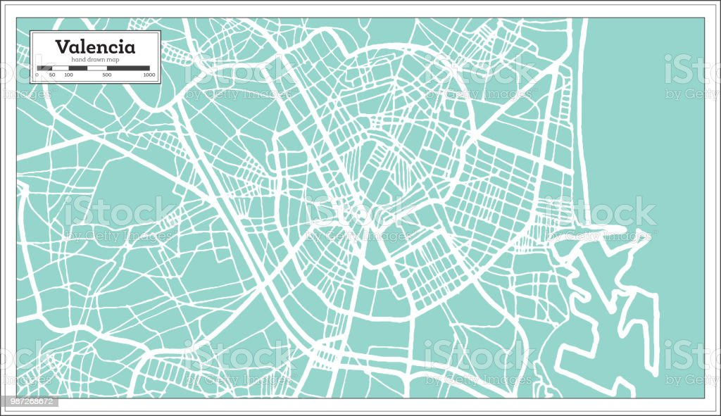 Mapa De La Ciudad De Valencia España.Ilustracion De Mapa De La Ciudad De Valencia Espana En
