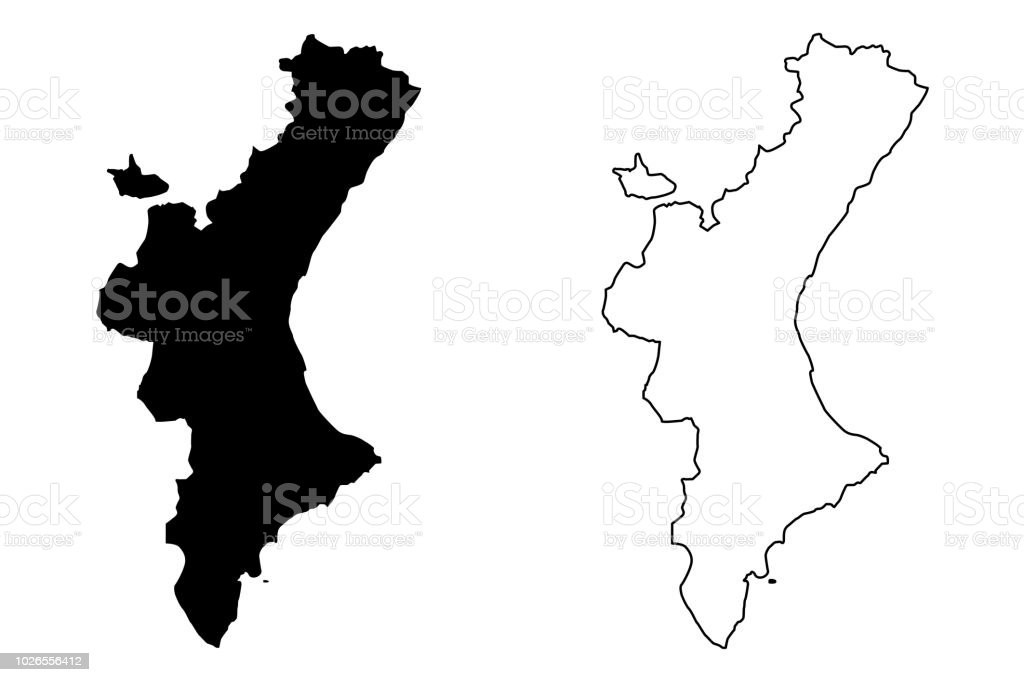 Valencian Community Map Vector Stock Vector Art & More Images of ...
