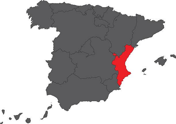 valencianische gemeinschaft rote karte auf grau spanien karte vektor - alicante stock-grafiken, -clipart, -cartoons und -symbole