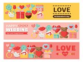 Valentine and wedding colorful card set