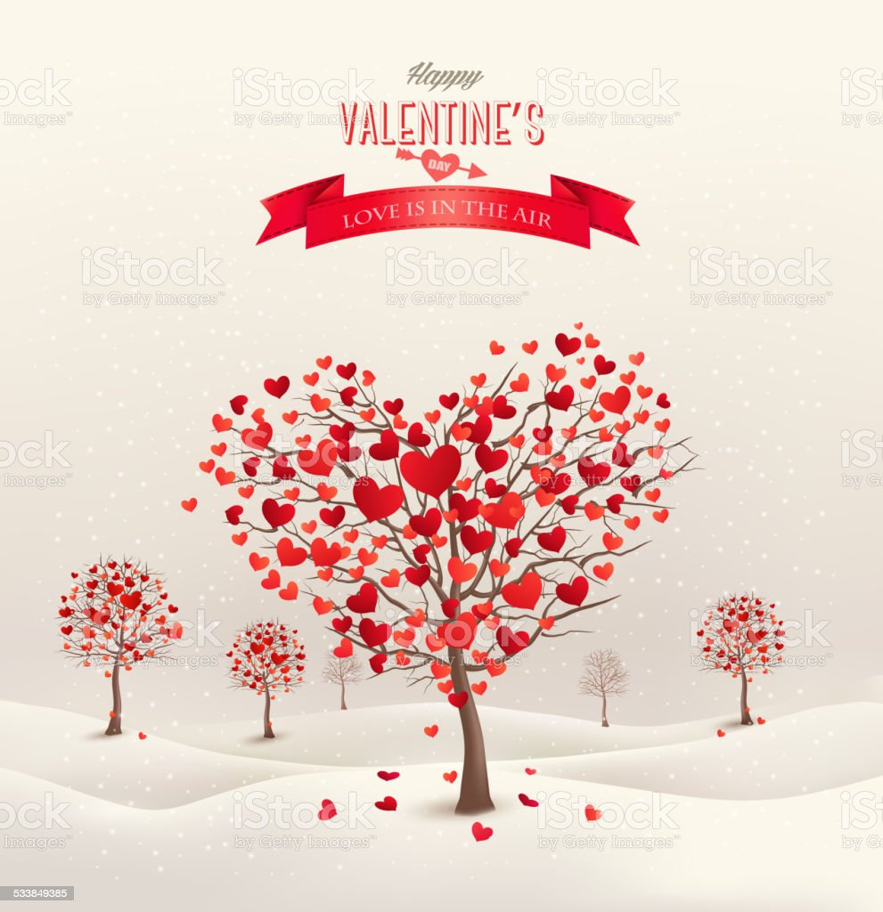 Valentine background with heart shaped trees. vector art illustration