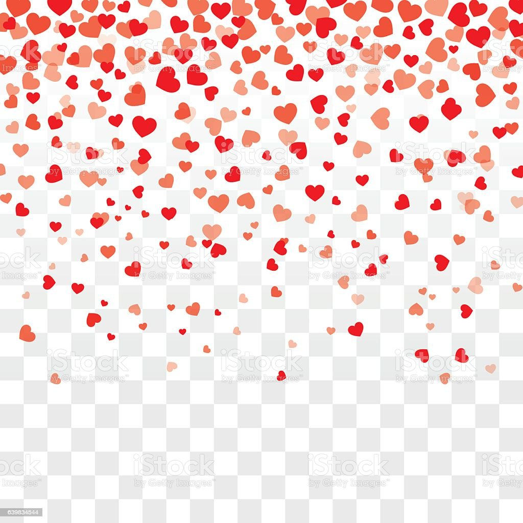 Valentine Background With Hearts Falling On Transparent ...