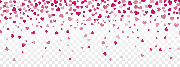 Valentine background with hearts falling on transparent - Illustration vectorielle
