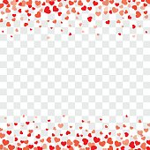 Valentine background with hearts on transparent and space for text