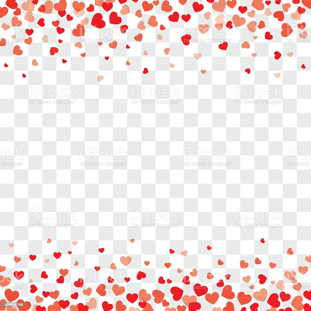 Valentine background with hearts on transparent and space vector art illustration