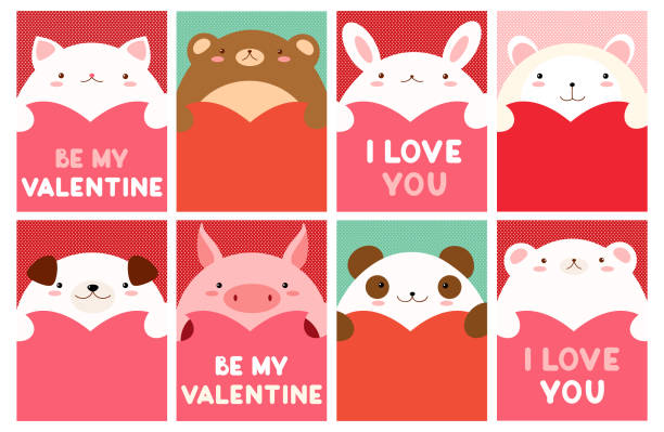 Valentine banner with cute animals Be my Valentine. Valentine's day banner, background, flyer, placard with cute animals. Holiday poster for scrapbooking. Vector template card for greeting, decoration, congratulation, invitation. EPS8 cat valentine stock illustrations