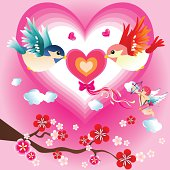 Vector illustration of two cute birds flying with heart.