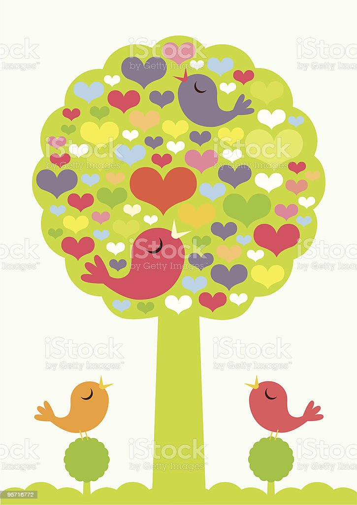 Valentine Birds vector art illustration