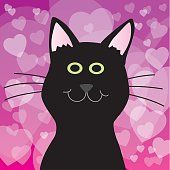 Vector illustration of a cute black cat against a whimsical hearts background,