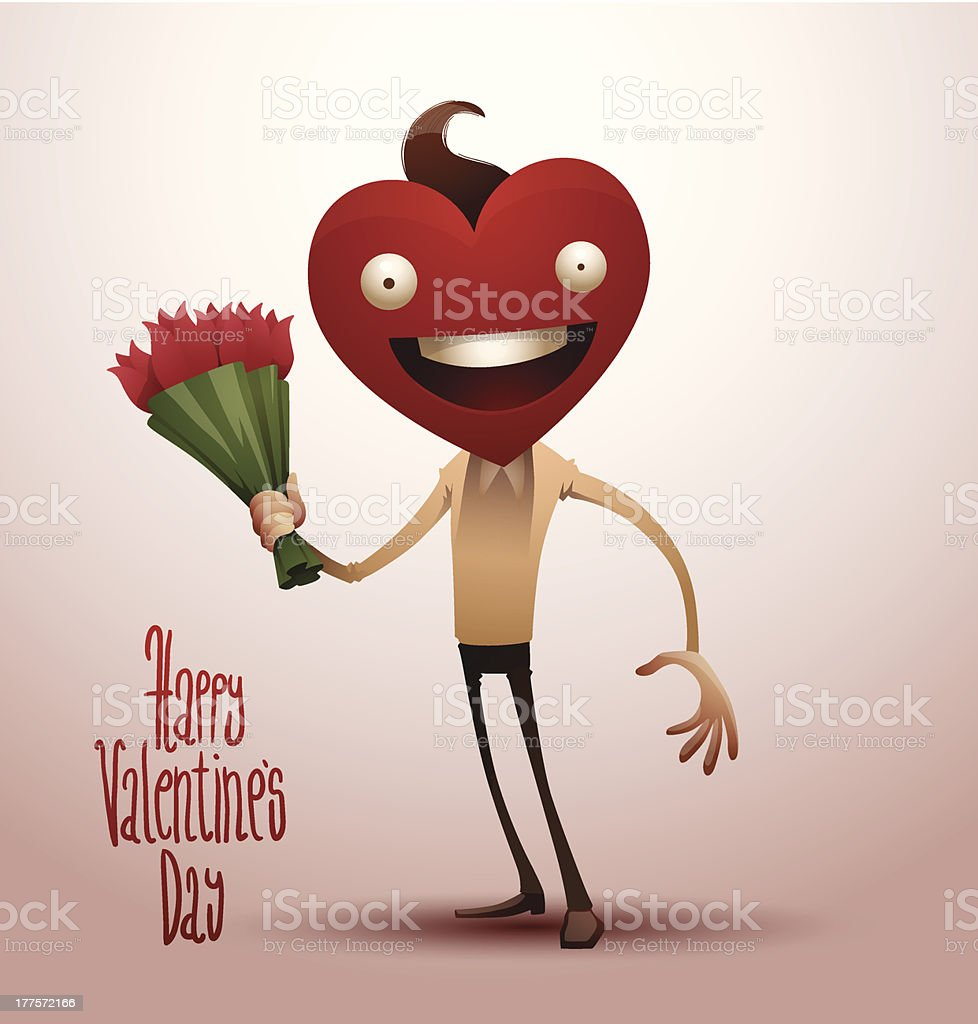 Valentine boy with a bouquet of flowers royalty-free stock vector art
