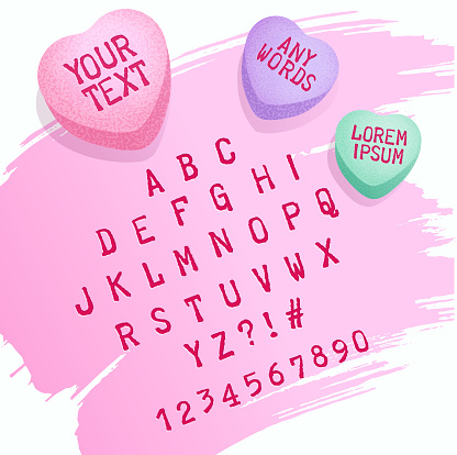 Valentine candy alphabet letters and candy hearts for customizing with your own text. Valentines Day design elements.
