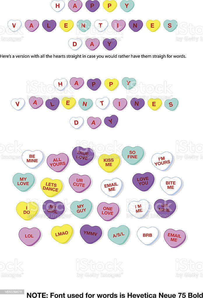 Valentine Candy Hearts (vector) royalty-free stock vector art
