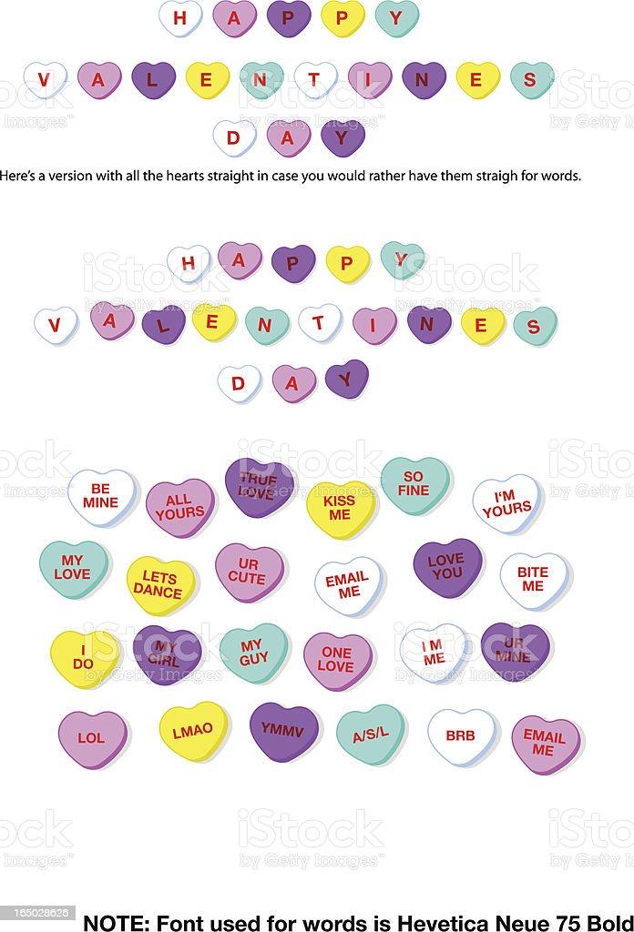 Valentine Candy Hearts (vector) vector art illustration